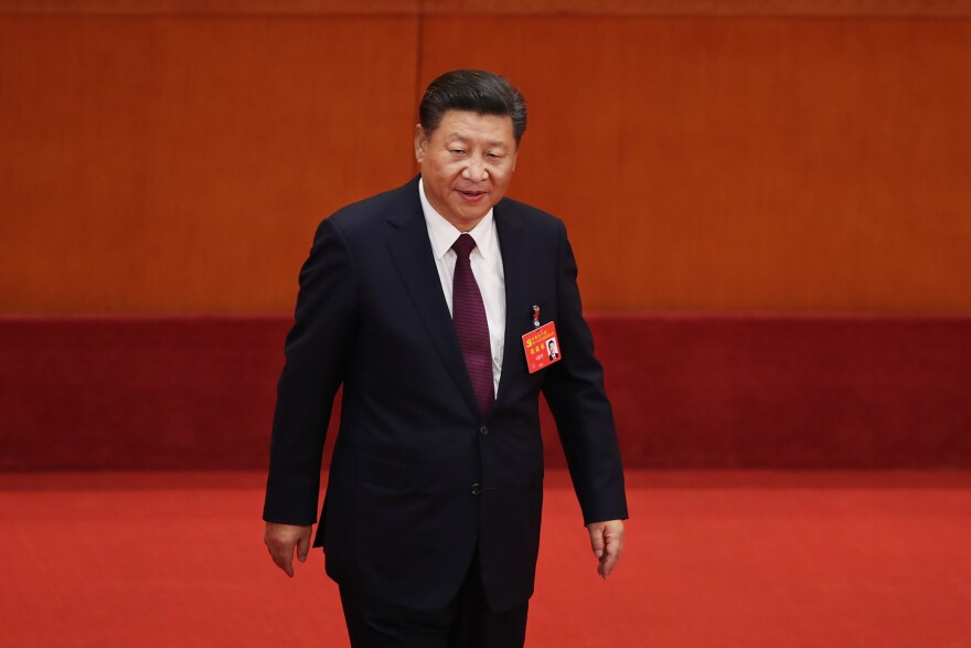 "Chinese President Xi Jinping, shown here during the opening session of the 19th Communist Party Congress in Beijing, ""is running China in crisis mode,"" says New Zealand academic Anne-Marie Brady, ""and China under Xi is following a very ambitious, a very assertive foreign policy."""