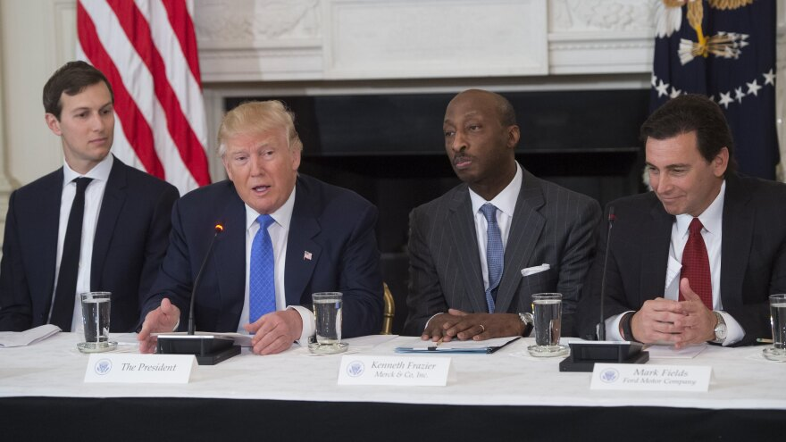 President Donald Trump speaks alongside White House senior adviser Jared Kushner (from left), Merck CEO Kenneth Frazier and Ford CEO Mark Fields during a meeting with manufacturing CEOs at the White House on Feb. 23. Trump disbanded two business advisory councils in August.