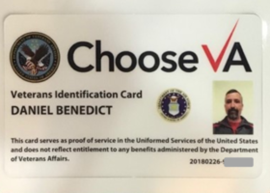 The front of the new, VA-issued veterans I.D. carries no sensitive information unlike formal discharge papers, form DD-214.