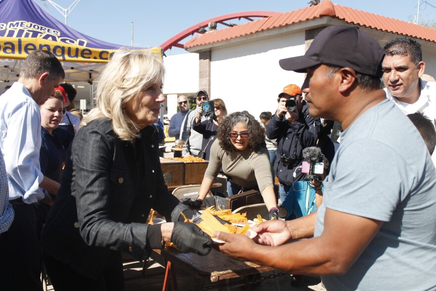 Former Second Lady Dr. Jill Biden hands out tamales to asylum seekers in Matamoros, Mexico