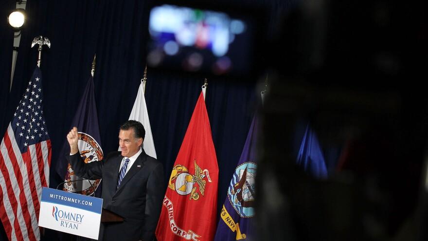 Mitt Romney speaks Thursday at American Legion Post 176 in Springfield, Va.