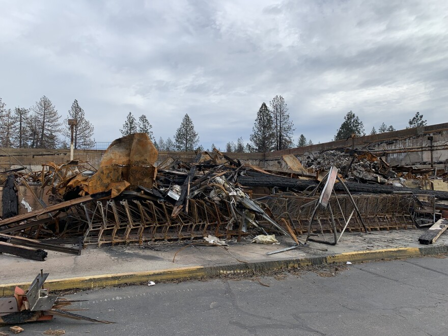 The Safeway shopping center was burnt last November and remained a pile of debris until recently.