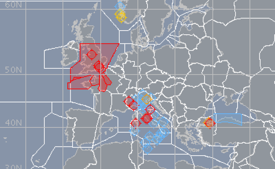 A Eurocontrol map showing the air traffic situation over Europe on Friday.