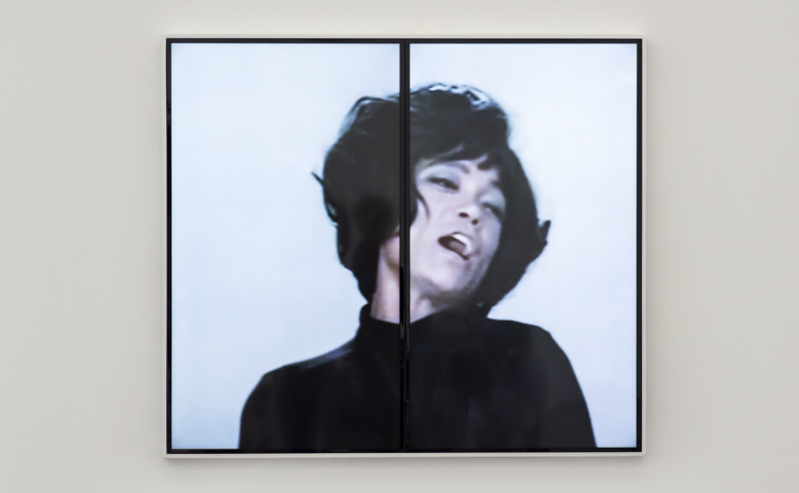 """This is an image of late actor Eartha Kitt from """"Angelitos Negros #1,"""" a video by artist Mickalene Thomas."""