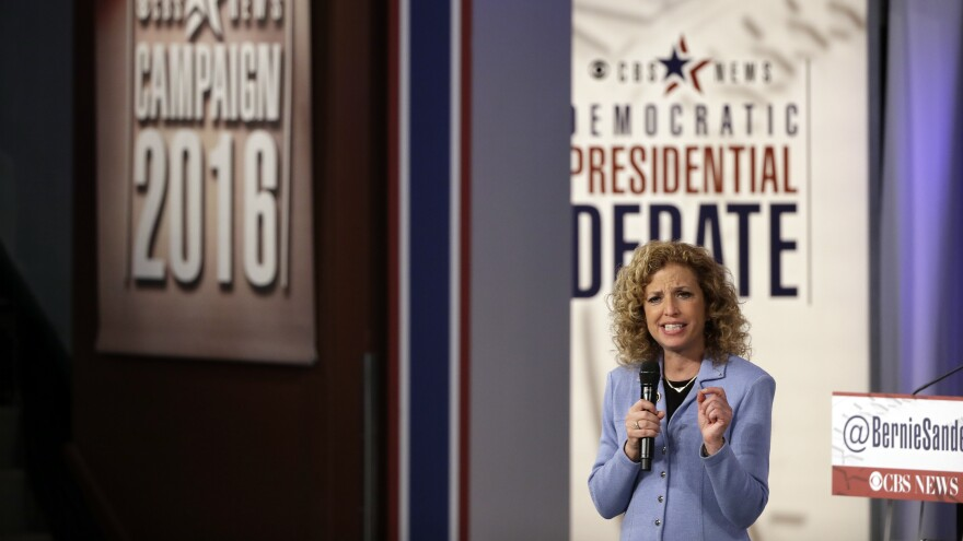 Rep. Debbie Wasserman Schultz, chairwoman of the Democratic National Committee, speaks before a Democratic presidential primary debate in November.