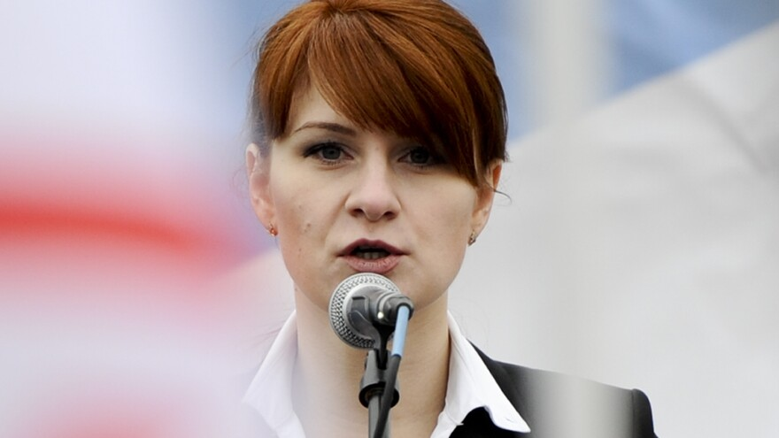 Maria Butina advocates for gun rights in Russia in 2013. Now sentenced to prison, she denies she had any intelligence assignment in the United States.