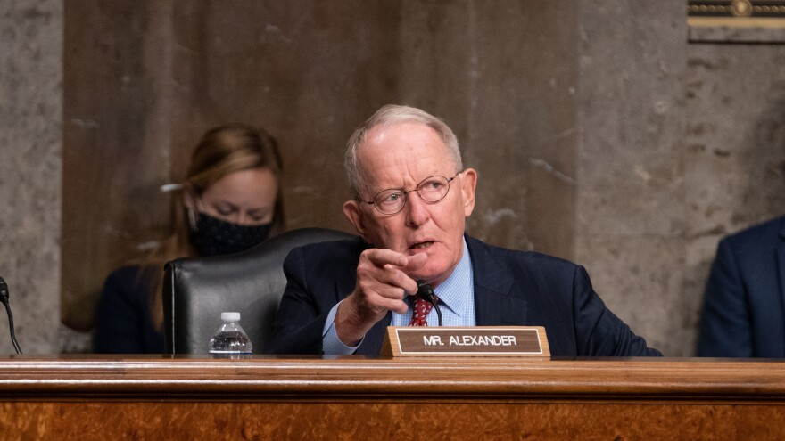 Tennessee Republican Sen. Lamar Alexander speaks at a Senate hearing Wednesday.
