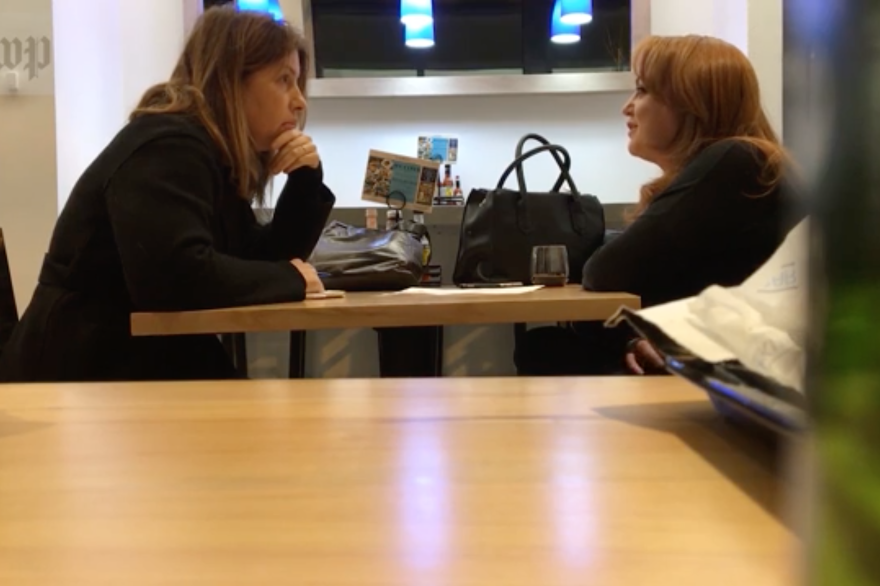<em>The Washington Post</em> published video of reporter Stephanie McCrummen (left) speaking to Jaime Phillips, who claimed to be a source for a story about embattled politician Roy Moore. Days later, members of the paper's staff watched Phillips walk into the offices of activist James O'Keefe's Project Veritas organization.