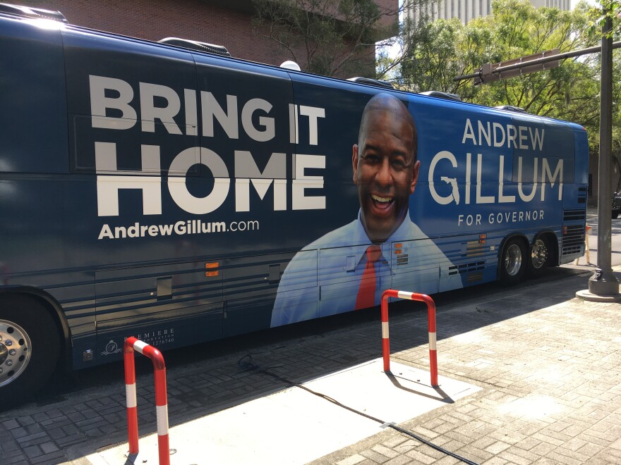 Tallahassee Mayor and Democratic gubernatorial candidate Andrew Gillum's bus is parked on Kleman Plaza as he prepares for a statewide tour ahead of the August 28th primary. Gillum was dogged throughout the election over an FBI probe into Tallahassee corruption and is now facing a second inquiry. (8/20/18)