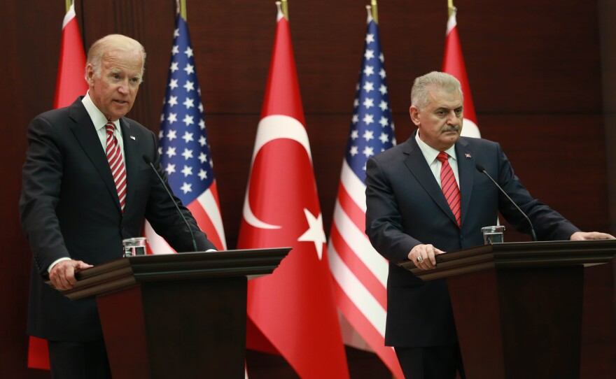 Vice President Biden and Turkish Prime Minister Binali Yildirim hold a news conference after meeting Aug. 24 in Ankara, Turkey. While the U.S. and Turkey are close allies, they've been at odds on a number of issues, and the meeting was designed to improve the atmosphere.