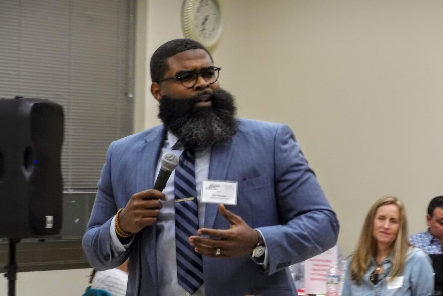 """Don Thomas of Leading on Opportunity in Charlotte urged the group to work together to create space for """"power-sharing"""" with low-income residents."""