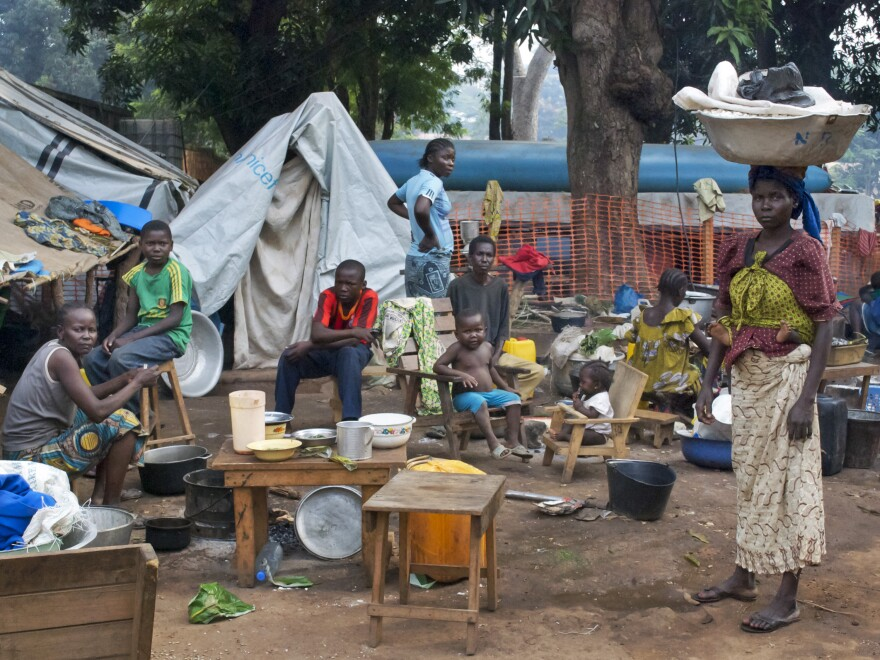 Displaced people fleeing Seleka fighting regroup in a camp in Bossangoa, Central African Republic, on Nov. 26.