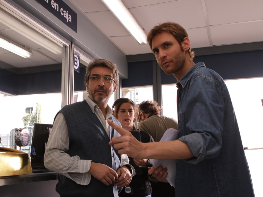 Damián Szifron (right) directs Argentine actor Ricardo Darin on the set of <em>Wild Tales</em>. This weekend, the film opened in select theaters in the U.S.