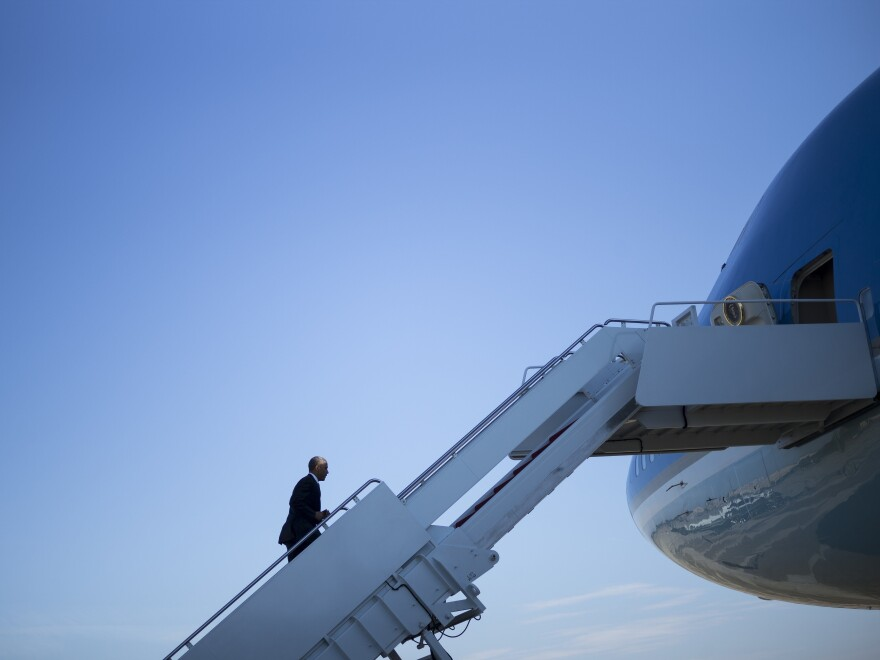President Barack Obama boards Air Force One on October 9, 2015. It's a nicer ride than even most CEO-level private aircraft.