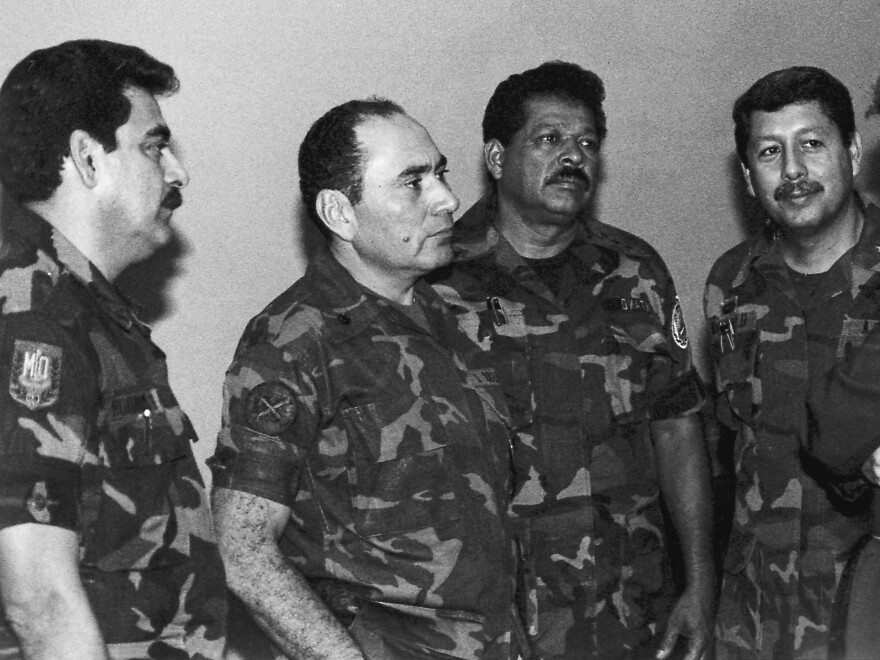 This July 1989 photo shows from left: Col. Rene Emilio Ponce, then head of the Salvadoran armed forces joint chiefs of staff, Rafael Humberto Larios, then defense minister, Col. Inocente Orlando Montano, then public security vice minister, and Col. Juan Orlando Zepeda, then defense vice minister, in an undisclosed location in El Salvador.