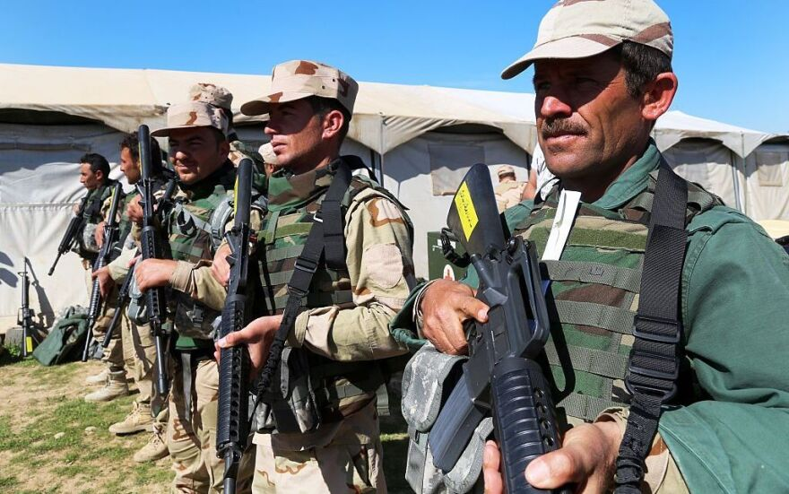 Kurdish Regional Government Peshmergas attend a military training exercise conducted by U.S.-led coalition trainers at the Bnaslawa military training camp in Irbil, Iraq, in March.