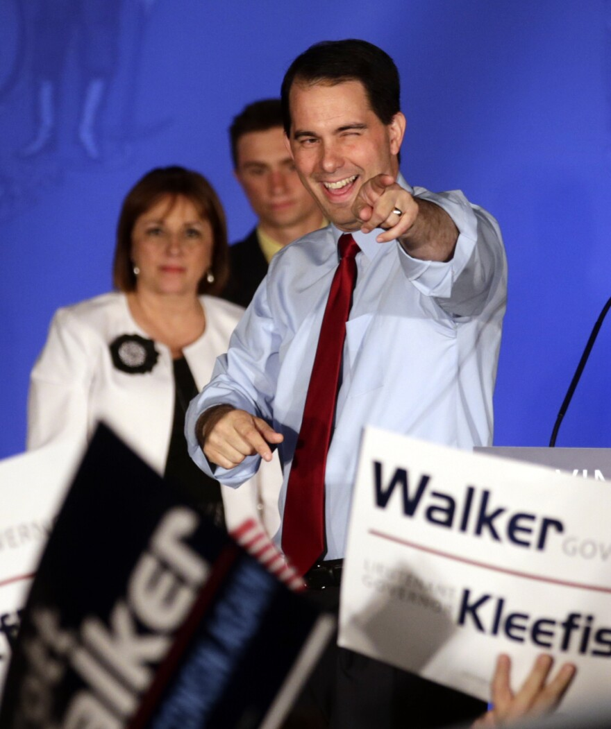 Wisconsin Republican Gov. Scott Walker reacts at his victory party in Waukesha, Wis., in June 2012 after defeating Democratic challenger Tom Barrett in a special recall election.