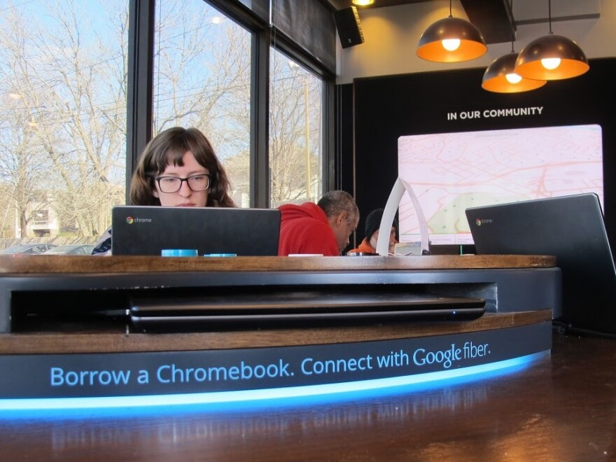 """Since Google Fiber rolled out gigabit broadband in Kansas City four years ago, residents have enjoyed fast Internet connections, including what locals call """"the world's fastest Starbucks."""""""