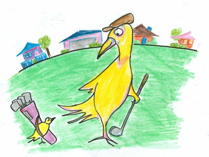 A bird golfing.