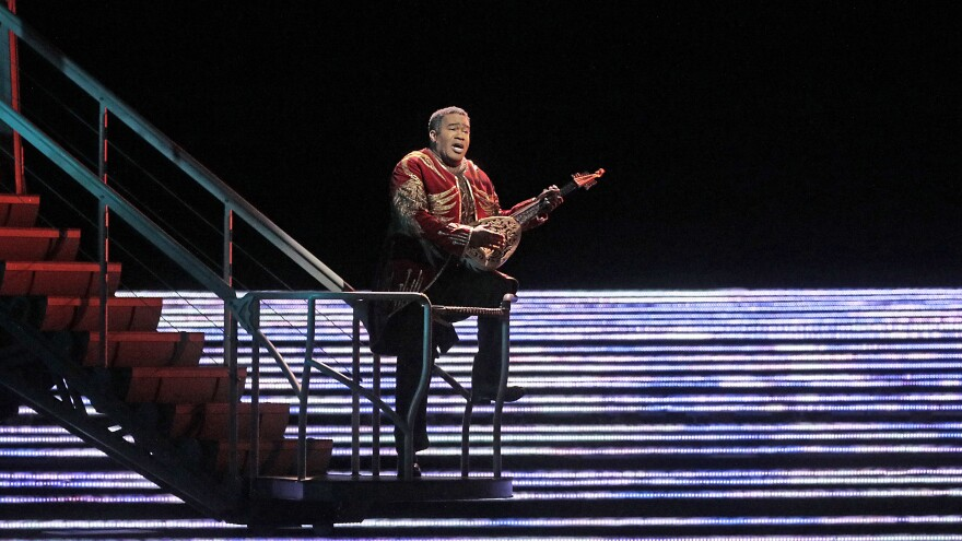 Eric Owens sings the part of Jaufré Rudel, the ballad-writing prince, in Kaija Saariaho's <em>L'Amour de Loin</em>.