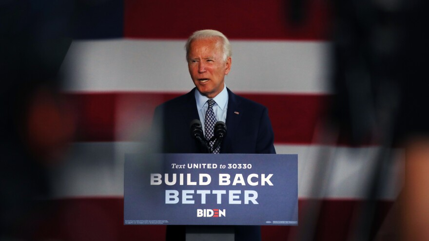 Presumptive Democratic presidential nominee Joe Biden discusses his economic policy Thursday at McGregor Industries in Dunmore, Pa.