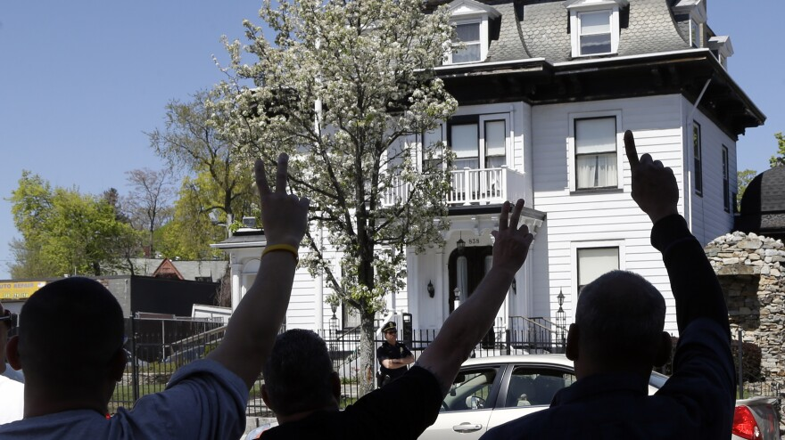 Protesters gathered Monday outside the Graham Putnam & Mahoney Funeral Parlors in Worcester, Mass., where the body of Boston Marathon bombing suspect Tamerlan Tsarnaev is being prepared for burial.