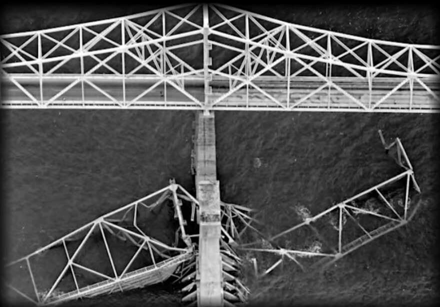 A portion of the Sunshine Skyway Bridge collapsed into Tampa Bay in May 1980 after it was struck by a cargo ship.