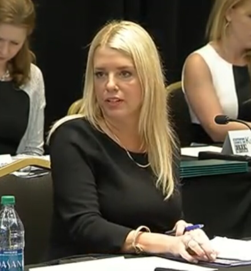 Attorney General Pam Bondi speaking during the Tuesday meeting of the Statewide Council on Human Trafficking.