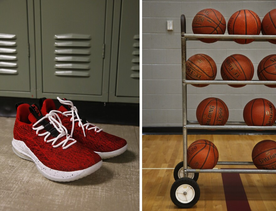 Left: Angel's basketball shoes. Right: Basketballs in the Minto High School gym.