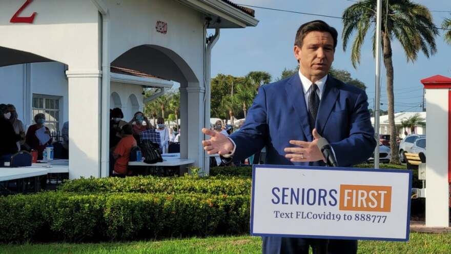 DeSantis said 3,000 Pinellas County seniors will be vaccinated over three days beginning Thursday.