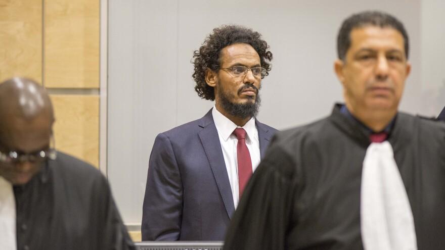 Accused jihadist leader Ahmad al-Faqi al-Mahdi, seen here in September, faces a trial at the International Criminal Court for crimes against humanity.