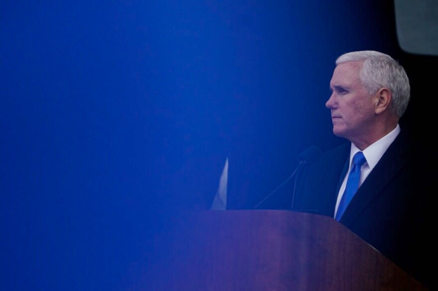 Vice President Mike Pence speaks to the gathered anti-abortion rights activists.