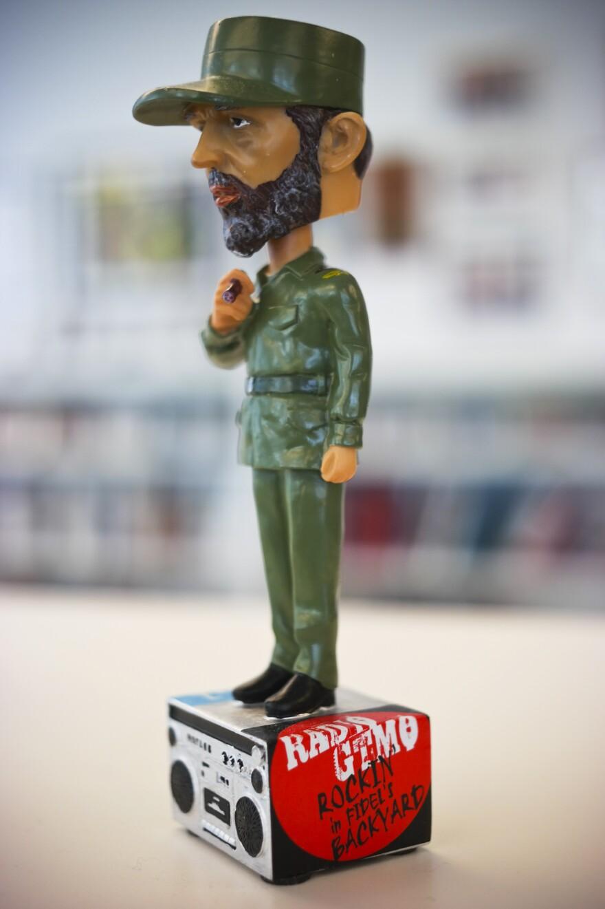 "Bobble head souvenir sold at Radio GTMO depicts Cuban leader Fidel Castro above the station's slogan: ""Rockin' in Fidel's Backyard"""
