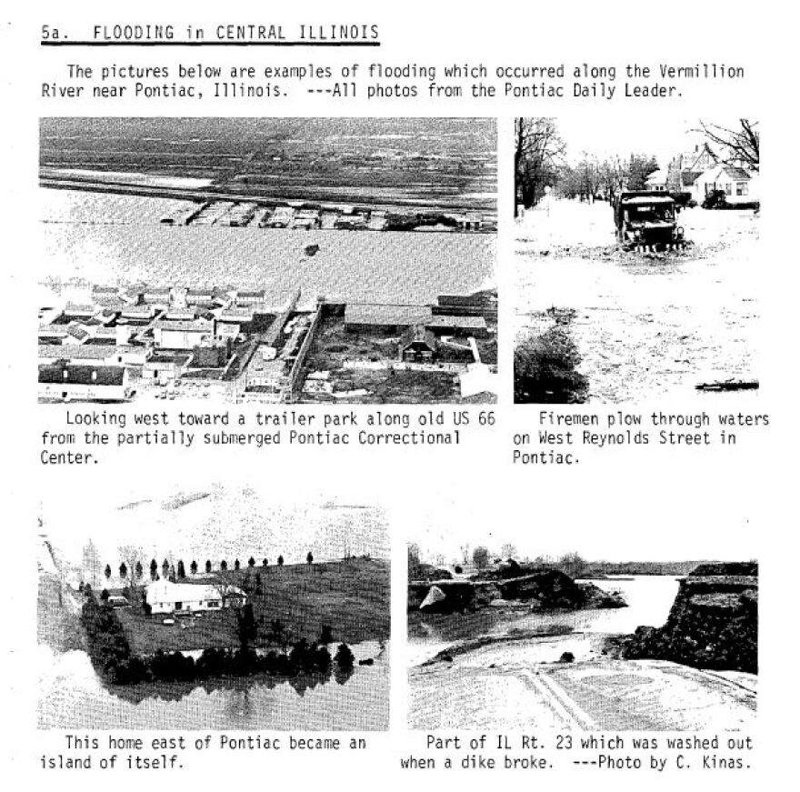 Photographs from a storm data report issued in December 1982 show the extent of flooding near Pontiac, Ill.