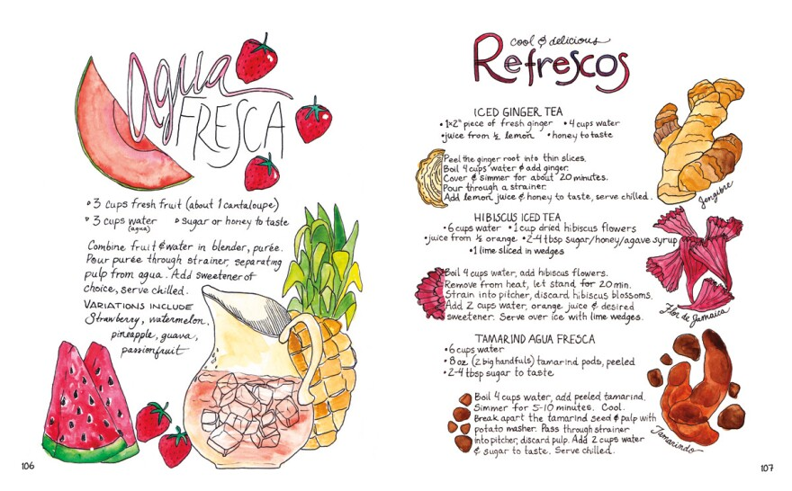 Recipes for <em>agua fresca, </em>beverages made with fresh fruit, and<em> refrescos</em> like iced ginger and iced hibiscus teas.