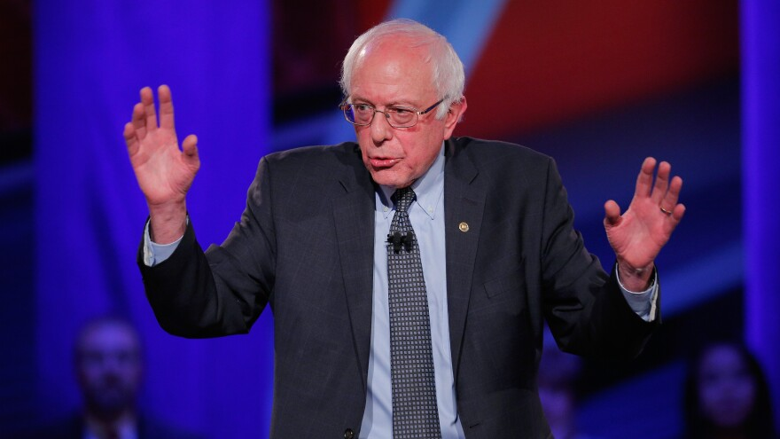 Democratic presidential candidate Bernie Sanders at a town hall forum hosted by CNN on Monday in Des Moines, Iowa.