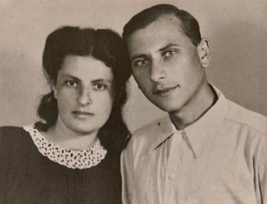 Pauline and Judel Schuster on their wedding day in Stalingrad in April 1945. Judel died in 1997; Pauline died in 2011.
