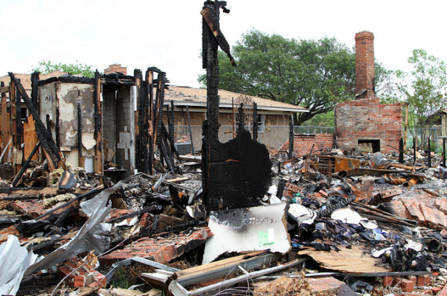 Aftermath of the 2013 explosion at a fertilizer plant in West, Texas. Authorities now say it was caused by arson.