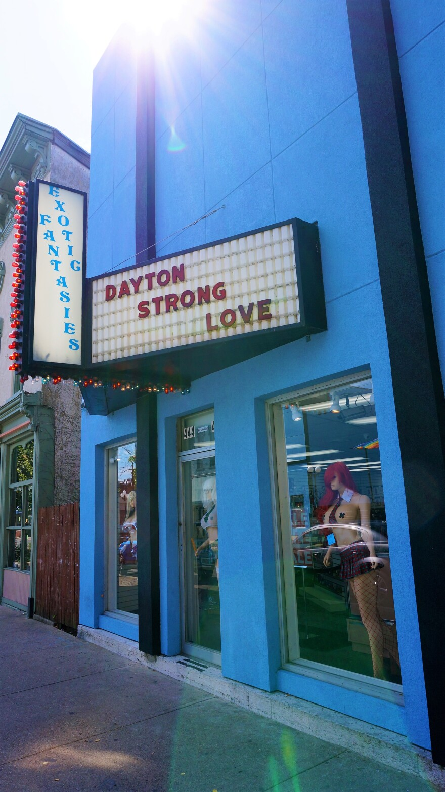 Exotic Fantasies usually has risque phrases on its marquee, but they posted messages of support for months after the mass shooting on Fifth Street in the Oregon District.