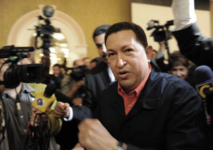 Venezuelan President Hugo Chavez during the opening of the second Meeting of Foreign Ministers of Latin America and the Caribbean (CELAC), in Caracas.
