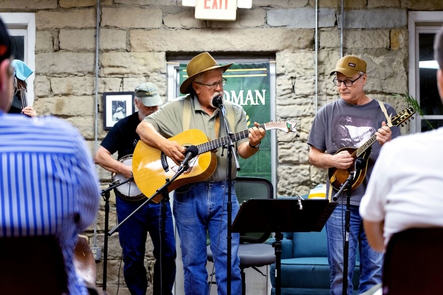Doug Naselroad (middle) and his band the 'Troublesome Boys' play at the Knott County Downtown Radio Hour. The recorded open mic is hosted once a month.