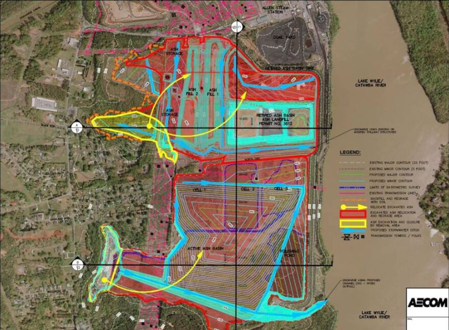 Duke Energy's preferred closure plan for Allen's coal ash basins is to cover it in place. Two small areas near houses (yellow) would be excavated and moved farther into the site.