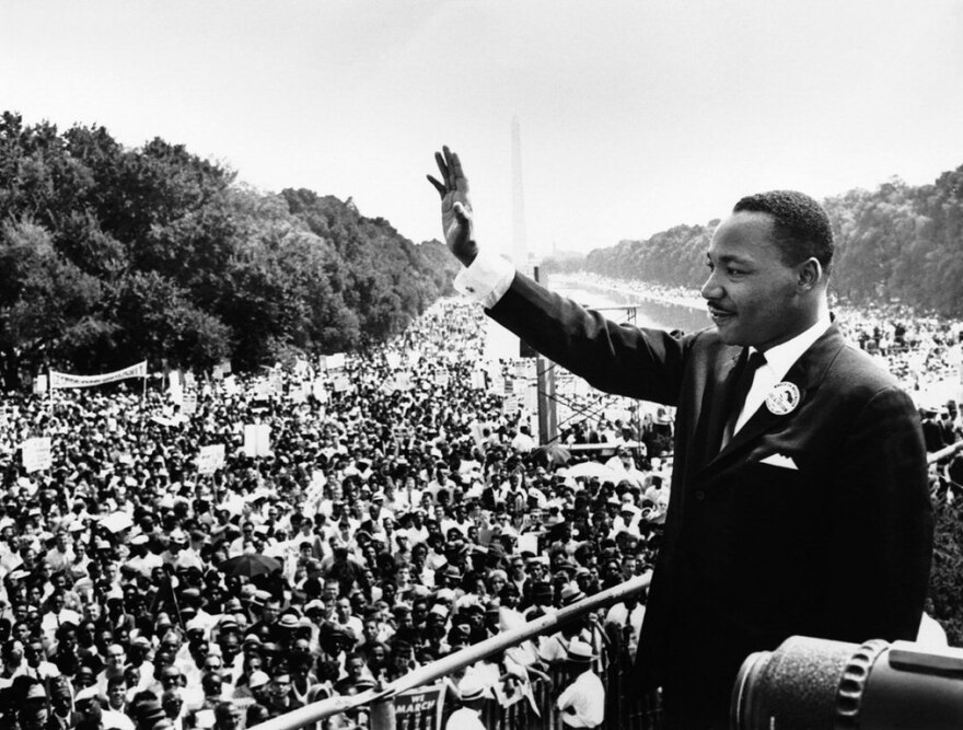 Martin Luther King Jr addressing a crowd in August 1963