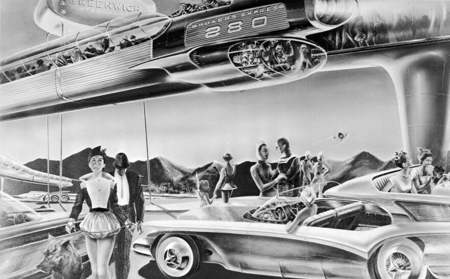 Circa 1958: An artist's impression of the future of commuting: a futuristic monorail to transport people to and from suburbia and their waiting families.