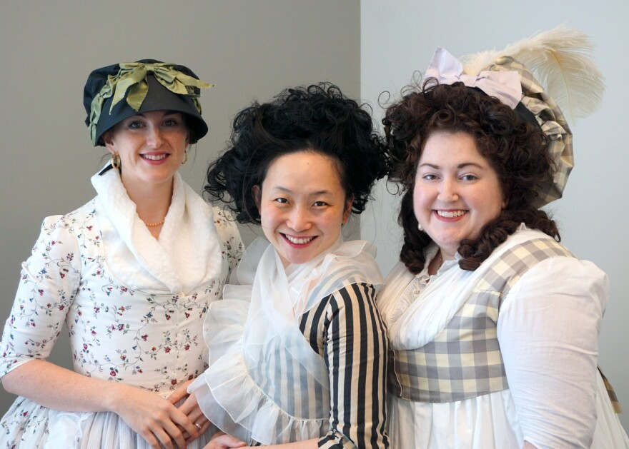 (L-R) Sara Hasz, Christine Millar and Emily Maynard joined Thursday's talk show to talk about their passion for sewing 18th-century inspired clothing.