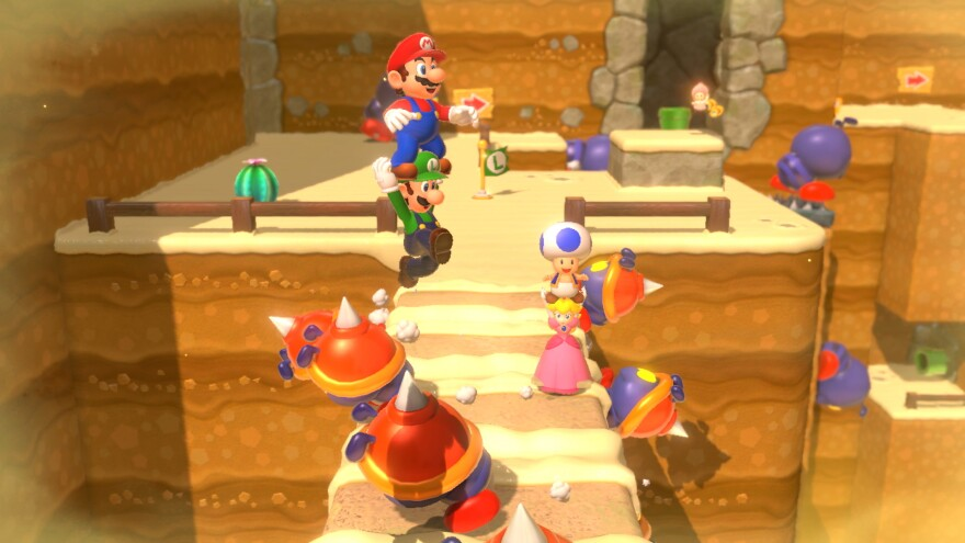 <em>Super Mario 3D World</em> allows online multiplayer in a beautifully designed environment.