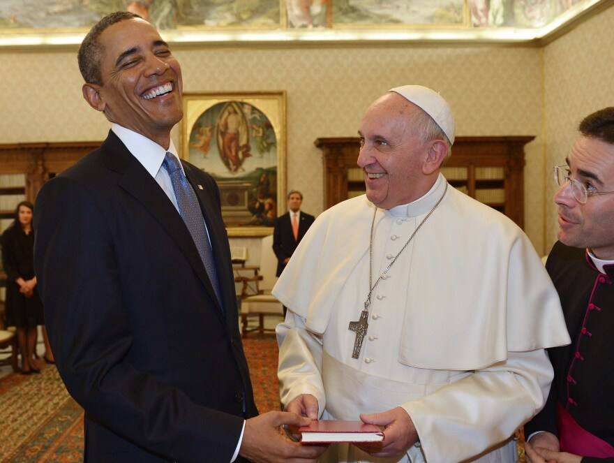 "Despite some differences, President Obama and Pope Francis shared a laugh during their Thursday meeting at the Vatican. Obama called himself a ""great admirer"" of the pope."