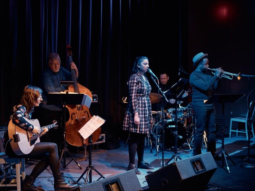 Halvorson rehearses with the <em>Code Girl</em> band: bassist Michael Formanek, singer Amirtha Kidambi, drummer Tomas Fujiwara and trumpeter Ambrose Akinmusire.