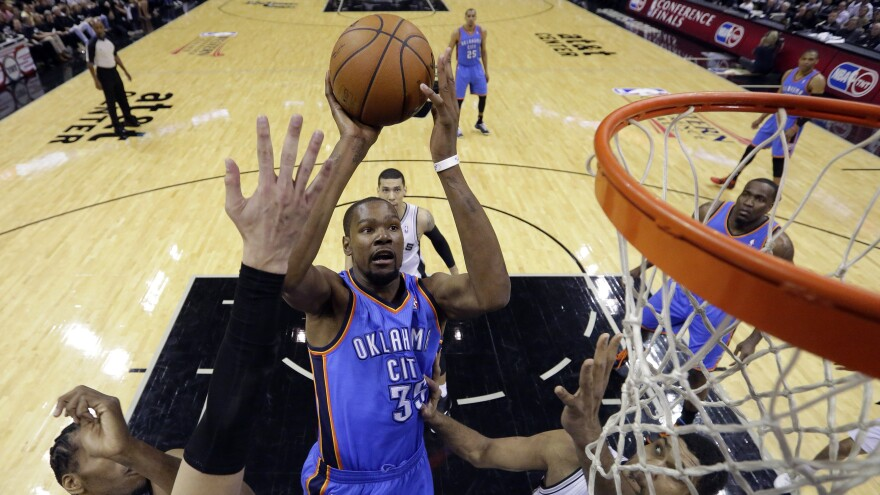 Some critics have hedged their appraisals of Oklahoma City Thunder's Kevin Durant solely because his team hasn't won a title, says commentator Frank Deford.