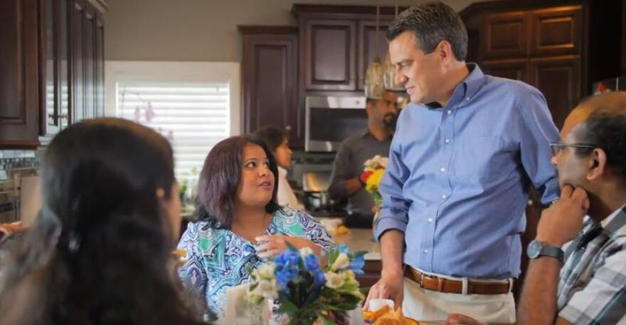 Rep. Kevin Yoder appears with Sunayana Dumala in a campaign ad.